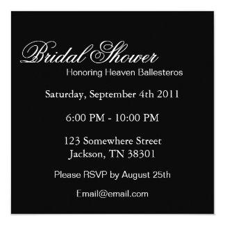 "Elegant Black Square Bridal Shower Invites 5.25"" Square Invitation Card"