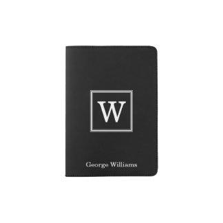 Elegant Black Square Monogram Passport Holder