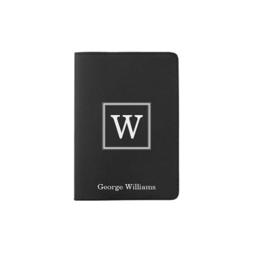 heartlocked Elegant Black Square Monogram Passport Holder