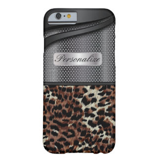 Elegant Black Steel Metal and Animal Print Design Barely There iPhone 6 Case