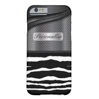 Elegant Black Steel Metal and Zebra Animal Print Barely There iPhone 6 Case
