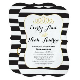 Elegant Black Stripe Faux Gold Elements Wedding Card