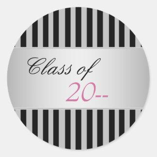 Elegant Black Stripe Graduation Stickers