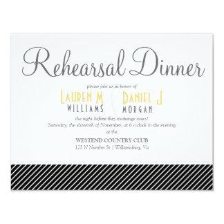 Elegant Black Stripe Patterned Rehearsal Dinner Invitations