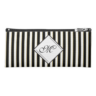 Elegant Black Striped Diamond Monogram Pencil Case