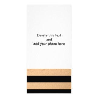 Elegant Black Stripes Bronze Foil Printed Card