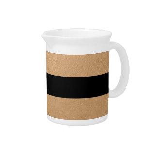 Elegant Black Stripes Bronze Foil Printed Beverage Pitcher
