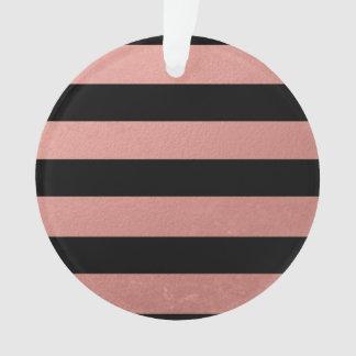 Elegant Black Stripes Coral Pink Foil Printed