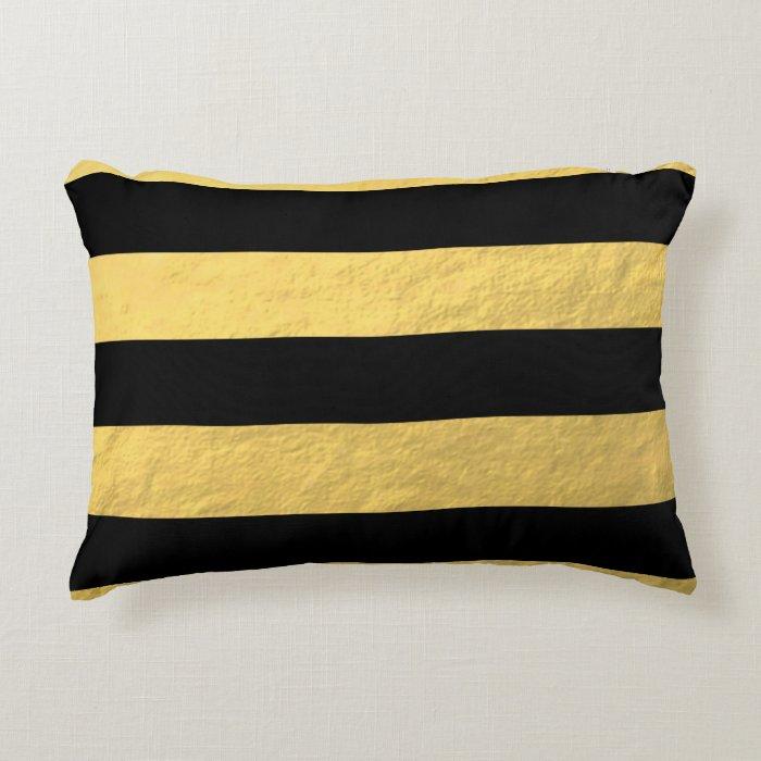 Gold Stripe Decorative Pillow : Elegant Black Stripes Gold Foil Printed Decorative Pillow Zazzle
