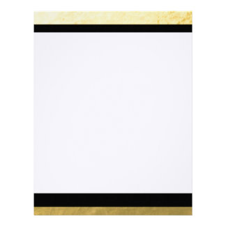 Elegant Black Stripes Gold Foil Printed Letterhead