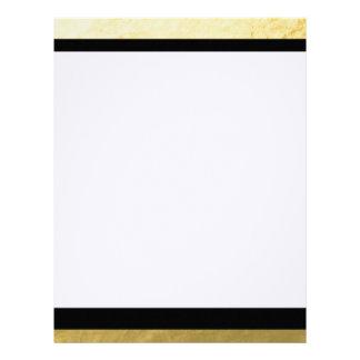 Elegant Black Stripes Gold Foil Printed Letterhead