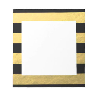 Elegant Black Stripes Gold Foil Printed Memo Pads