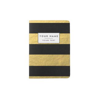 Elegant Black Stripes Gold Foil Printed Passport Holder