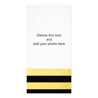 Elegant Black Stripes Gold Foil Printed Photo Card