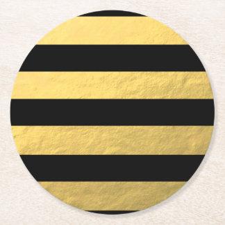 Elegant Black Stripes Gold Foil Printed Round Paper Coaster