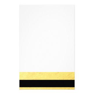 Elegant Black Stripes Gold Foil Printed Stationery