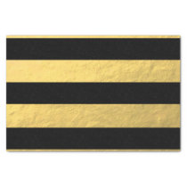 Elegant Black Stripes Gold Foil Printed Tissue Paper