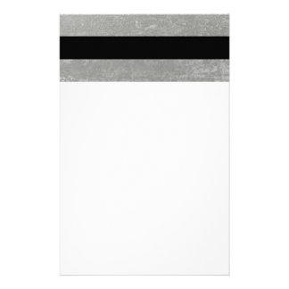 Elegant Black Stripes Silver Foil Printed Stationery