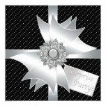 Elegant Black Surprise Birthday Party 5.25x5.25 Square Paper Invitation Card