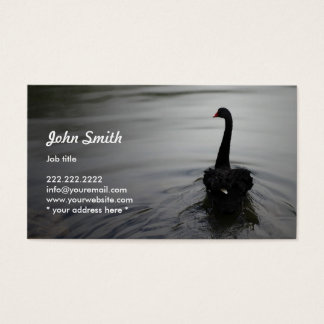 Elegant Black Swan Swimming on a Lake Profile Card