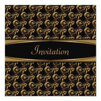 """Elegant Black Swirl Gold Party Invitation 5.25"""" Square Invitation Card"""