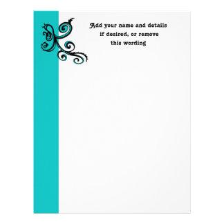 Elegant black swirl on turquoise letterhead