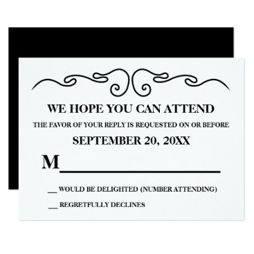 Wedding Themed Elegant Black Swirl RSVP Version 1 Card