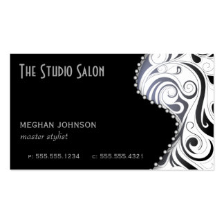 Elegant Black Swirly Swirl Business Card Template