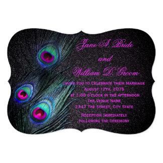 Elegant Black Teal and Hot Pink Peacock Wedding Card