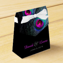 Elegant Black Teal and Hot Pink Peacock Wedding Favor Box