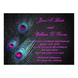 Elegant Black Teal and Hot Pink Peacock Wedding 5.5x7.5 Paper Invitation Card