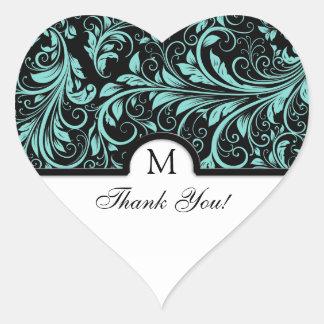 Elegant Black & Teal Blue Damask Thank You Heart Sticker
