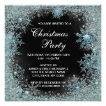 Elegant Black Teal Blue Snowflake Christmas Party Invitations