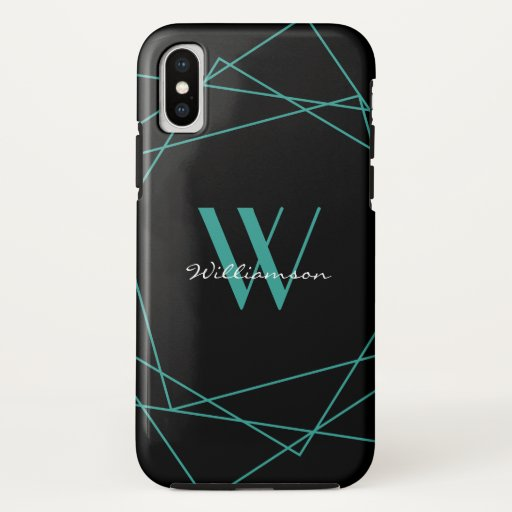 Elegant Black Teal Monogram Geometric Pattern Name iPhone XS Case
