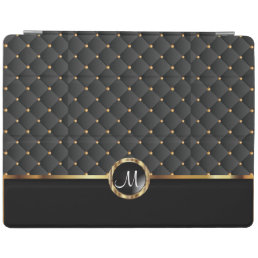 Elegant Black Texture and Gold Pattern - Monogram iPad Smart Cover