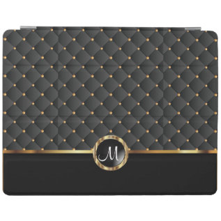 Elegant Black Texture And Gold Pattern - Monogram Ipad Smart Cover at Zazzle