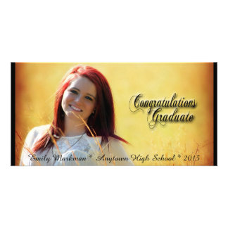 Elegant Black Trim Horizontal Photo Graduation Card
