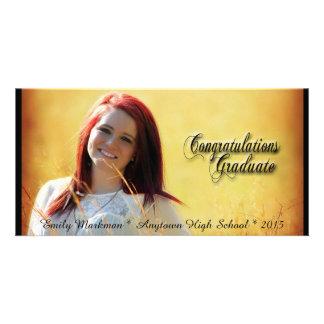 Elegant Black Trim Horizontal Photo Graduation Custom Photo Card