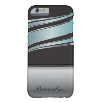 Elegant Black, Turquoise and Silver Metal Design Barely There iPhone 6 Case