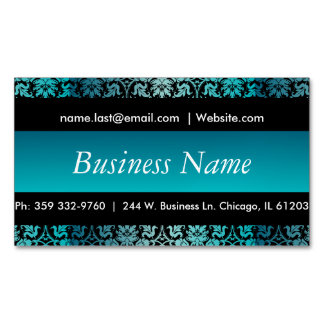 Elegant Black & Turquoise Damask Design Magnetic Business Card