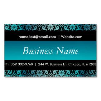 Elegant Black & Turquoise Damask Design Magnetic Business Cards (Pack Of 25)
