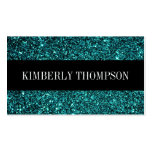 Elegant Black & Turquoise Glitter Business Card Templates