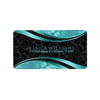 Elegant Black & Turquoise Vintage Floral Damasks Label