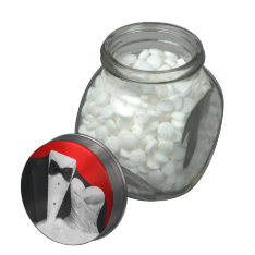 Elegant Black Tuxedo and White Wedding Dress Candy Jelly Belly Candy Jars at Zazzle