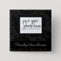 Elegant Black Velvet Style Floral Photo & Text Button