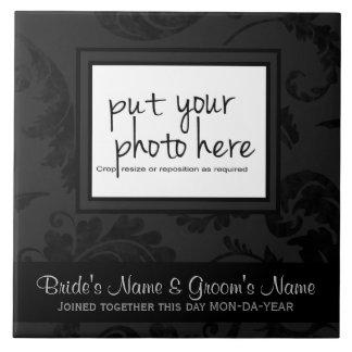 Elegant Black Velvet Style Floral Photo & Text Ceramic Tile