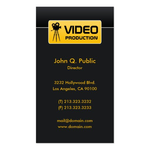 elegant black video and film production business card