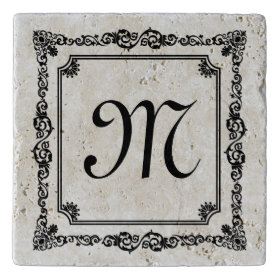 Elegant Black Vintage Floral Frame Monogramed 2 Trivets