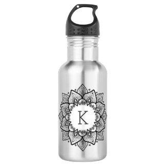 Elegant Black Vintage Floral Lace Circle Water Bottle