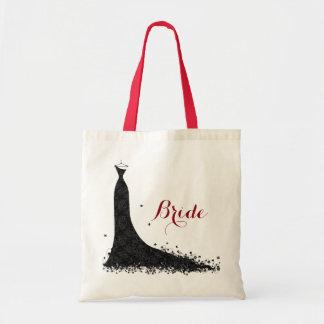 Elegant Black Vintage Lace Wedding Dress Tote Bag